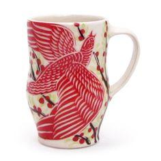 Sue Tirrell Ceramic Mug with whimsical bird