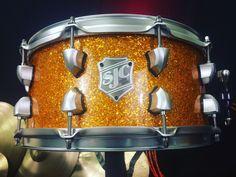 "SJC 14x6.5"" Orange Sparkle Maple With Re Rings snare drum!"