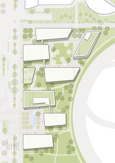 holodeck-architects-krieau-viertel-zwei-plus. Masterplan Architecture, Architecture Plan, Architecture Diagrams, Architecture Portfolio, Architecture Graphics, Architecture Drawings, Landscape Plans, Landscape Design, Site Plan Rendering