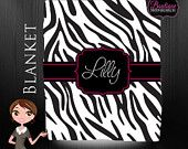 Monogrammed Blanket, Personalized Blanket with Custom Colors, Zebra Print