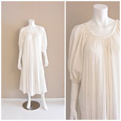 Vintage Mexican gauzy cotton dress 1970s. Rolled by atlasfalcon, $125.00