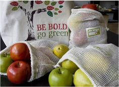 organic cotton reusable produce bags. Believe it or not these can save a lot of plastic!
