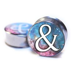 """0g-9/16"""" & (ampersand) galaxy Plugs ($15) ❤ liked on Polyvore featuring jewelry, earrings, plugs, accessories, piercings, cosmic jewelry, surgical steel earrings and surgical steel jewelry"""