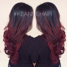 Cherry Bombre Hair: The New Low Maintenance Hair Color Brunettes Would Love - Hana Red Ombre Hair, Ombre Hair Color, Black Cherry Ombre Hair, Red Balayage Hair Burgundy, Brown To Red Ombre, Cherry Red, Dark Brown, Red Bayalage, Brown To Red Hair