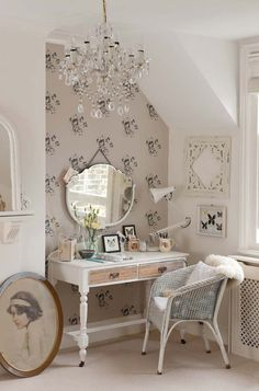 Create a pretty nook to beautify yourself in. We love the dreamy blush tones and the French boudoir-style dresser. #beauty #interior