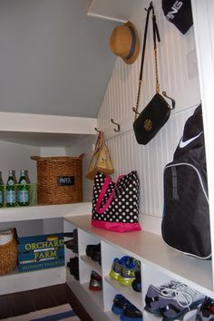 Mudroom Reveal - A tiny room packed with tons of storage space.