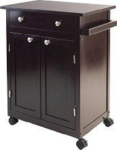 Savannah Kitchen Cart in Espresso - Winsome Wood Kitchen cart has one large drawer, double doors opens to a cabinet with one fix slated shelf and bottom shelf for storage also include a handle. Accent with metal knobs. Kitchen Storage Cart, Kitchen Island Cart, Storage Shelves, Locker Storage, Kitchen Carts, Kitchen Ideas, Kitchen Layouts, Large Drawers, Cabinet Drawers