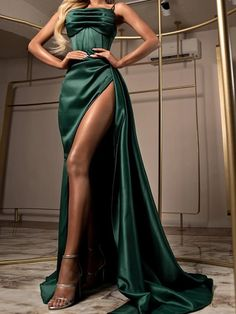 Evening Dresses Online, Formal Evening Dresses, European Street Style, Stretch Satin, Elastic Satin, Gala Dresses, Spaghetti Strap Dresses, Illusion Dress, Wedding Dresses For Sale