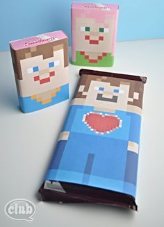 Free printable Minecraft Candy Wrapper Valentines
