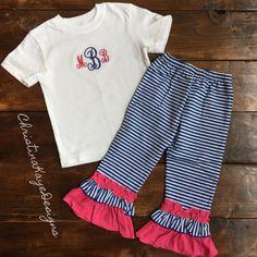 Custom monogramed striped ruffle pants by ChristinaKayeDesigns