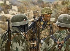 The Fallschirmjager, the German paratroopers of World War 2, made the first airborne infantry assaults in history when Germany invaded Western Europe in 1940, with gliders and capturing strategic positions. A year later, in May 1941, in their greatest operation, they invaded and conquered the island Crete in the Mediterranean solely by airborne troops. Their losses were such that Hitler decided never to do another large airborne operation again.