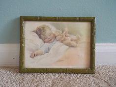 #art Vintage Bessie Pease Gutmann Litho Print Original Frame Baby Child Keepsake RARE please retweet