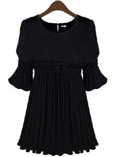 Vestido gasa plisado mangas cortas-Negro EUR28.44 www.sheinside.com