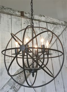 Industrial, Rustic Metal Round Armillary Sphere Chandelier Light Fixture