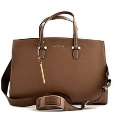 BORSA CARTELLA BUSINESS DONNA CROMIA IN VERA PELLE MARRONE CUOIO BAG #borse