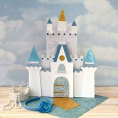 Free Cinderella Dresser-top Castle printable/downloadable pattern perfect for Disney scrapbook pages and cards from @Spoonful