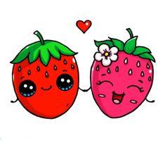 aardbei Kawaii Girl Drawings, Cute Food Drawings, Cute Girl Drawing, Disney Drawings, Cartoon Drawings, Chibi Kawaii, Kawaii Doodles, Cute Doodles, Kawaii Art