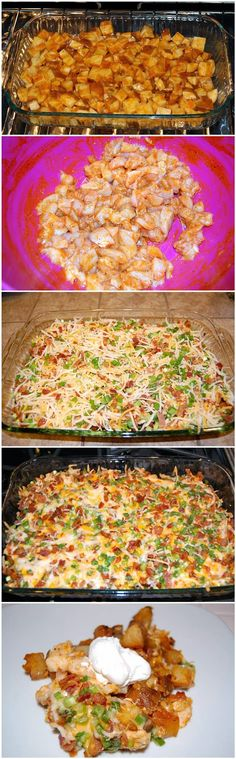 Red Star Recipe: Loaded Baked Potato & Chicken Casserole...cook chicken before you add it to potatoes and it cuts down on cross contamination and cooking time. Only have to melt cheese and heat thru...little longer prep but better in the end!