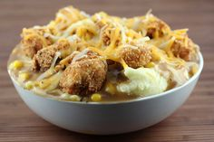 Mashed Potato Bowl Recipe - mom used this recipe while we were there for memorial day weekend and it was fantastic - the spices in the chicken breading were perfect... and she used instant potatoes which worked fine!!!