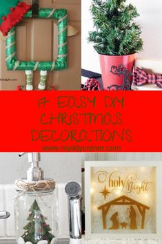 Here are 17 easy Christmas decorations you can use to decorate your home on the cheap for the Holidays. Whimsical Christmas, Felt Christmas, Diy Christmas Gifts, Rustic Christmas, Simple Christmas, Christmas Tree Ornaments, Christmas Holidays, Diy Christmas Decorations Easy, Christmas Centerpieces