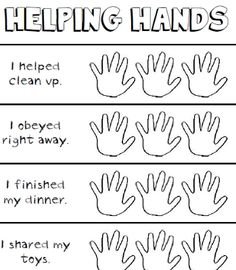 This Page Was Sent Home Children Can Color A Hand As They Help Others During The Week