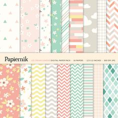 Printable Digital Paper Pack for Scrapbooking and Crafts - Mint Coral Pink Yellow Gray Pastel Floral Chevron Stripes Grid