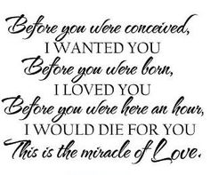 Before you were conceived, I wanted you. Before you were born, I loved you. Before you were here an hour, I would die for you. This is the miracle of Love. (and other quotes for nursery walls)