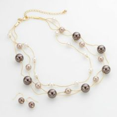 Croft & Barrow Gold Tone Simulated Pearl Multistrand Necklace & Drop Earring Set