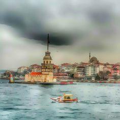 Boat sea tower kiz kulesi