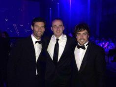Mark Webber, Robert Kubica and Fernando Alonso (FIA Gala, Paris, 06-12-2013)
