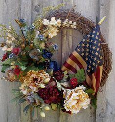 american flag, floral wreaths, flag wreath