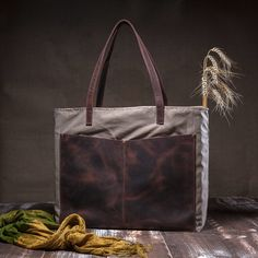 Canvas tote bag  shoulder tote bag  with leather pocket by Tram21