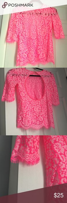 Stunning sheer hot pink lace top!!! This top is truly gorgeous!  Quality and detail and the color is so pretty!!  Look at the open back!  With a nude low back bra this would look perfect.  Tags aren't on but his has never been worn ❌no trades❌ Dolce Vita Tops