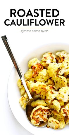 The BEST roasted cauliflower recipe! It's super easy to make, full of great nutrients, and totally customizable with your favorite seasonings. Baked Coliflower, Roasted Califlower, Coliflower Recipes, Oven Roasted Cauliflower, Veggie Dishes, Vegetable Recipes, How To Cook Cauliflower, Cauliflower Dishes, Cooking Recipes