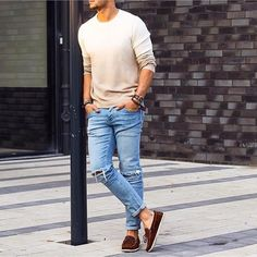 men's white sweater and jeans