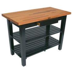 "John Boos Oak Table Boos Block, 60""W x 25""D x 35""H, With 2 Shelves, Apple Green"