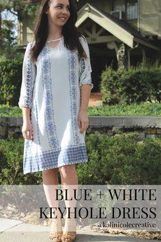 http://kalinicolecreative.blogspot.com/2017/04/blue-white-keyhole-dress.html