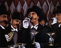 cirlce of gentlemen smoking cigars and drinking martinis? I thought it would be more manlike for scotch or whiskey