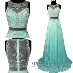Beautiful mint green chiffon sequins two pieces prom dress for teens, prom dresses long #coniefox