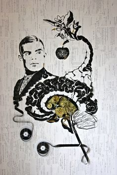 "iri5 | the modern art of Erika Iris Simmons -- Ghost in the Machine: Alan Turing  ""This artwork is a dedication to the man who broke the Enigma code and did perhaps more than any other single person to bring the Allies in WWII to victory."""