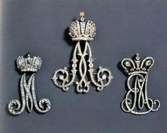 glitter-of-jewelry: Diamond imperial cyphers of the Empress Maria Feodorovna