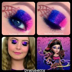 Monster high~Dracubecca eye makeup Made by:glittergirlc Clown Makeup, Costume Makeup, Halloween Makeup, Demon Makeup, Monster High Makeup, Monster High Party, Makeup Geek Pigment, Eyeshadow Makeup, Makeup Brushes