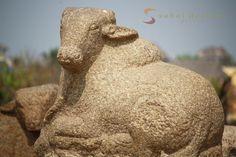 Stone carving of bull at Shore Temple, Mahabalipuram, India