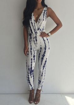 White Floral Sewing Mid-rise Casual Slim Long Jumpsuit