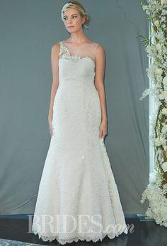 "Brides.com: Sareh Nouri - Fall 2014. ""Skylar"" trumpet wedding dress with French Alencon lace, sheer neckline with lace details on the back, Swarovski crystals accenting the wedding dress, Sareh Nouri"