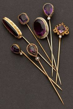 Estate Jewelry:Stick Pins and Hat Pins, Seven Amethyst & Gold Stick Pins. … (T… Estate Jewelry:Stick Pins and Hat Pins, Seven Amethyst & Gold Stick. Men's Jewelry, Antique Jewelry, Jewelery, Vintage Jewelry, Jewelry Accessories, Jewelry Design, Fashion Jewelry, Antique Necklace, Bridal Jewelry