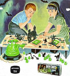Another piece of cool retro art for Transograms Green Ghost Game from the Halloween Toys, Vintage Halloween, Ghost Games, Spooky Games, Creepy Kids, Scary, Bored Games, Vintage Board Games, Retro Ads