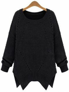 Black Long Sleeve Hollow Asymmetrical Sweater pictures