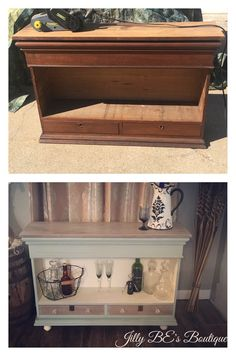 Lift-top bar, created from a solid oak antique Encyclopedia Brittanica case. It was chalk painted with Annie Sloan's Duck Egg blue and Old White, with driftwood stained top and drawer faces. Glass knobs, skeleton keyhole covers, and feet were added.