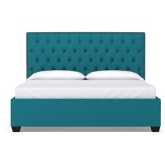 Apt2B Huntley Drive Upholstered Bed Biloxi Blue (2,015 CAD) ❤ liked on Polyvore featuring home, furniture, beds, california king bed furniture, upholstered nailhead bed, queen bed, handcrafted furniture and upholstered bed
